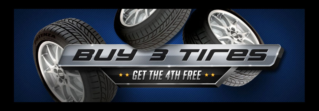 Buy 3 tires and get the 4th free!